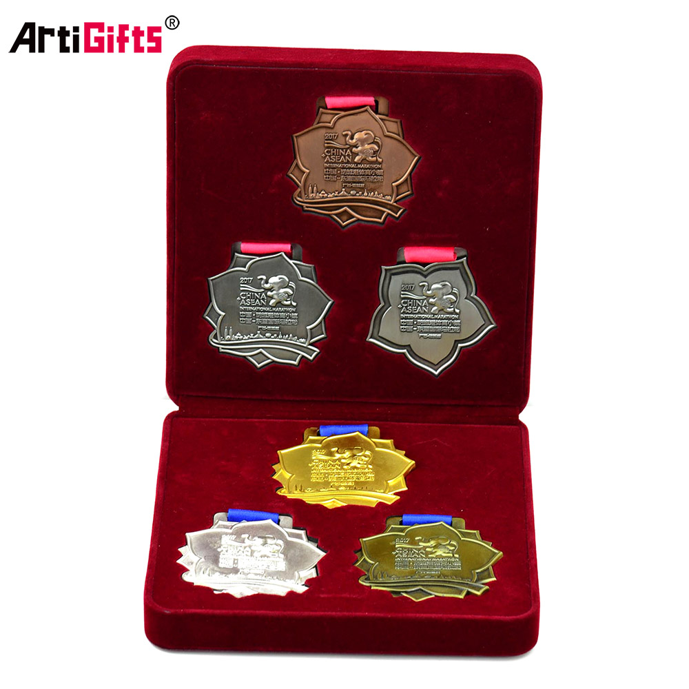 Elephant Shape Metal Gold Silver Bronze Marathon Running Finisher Box Medal