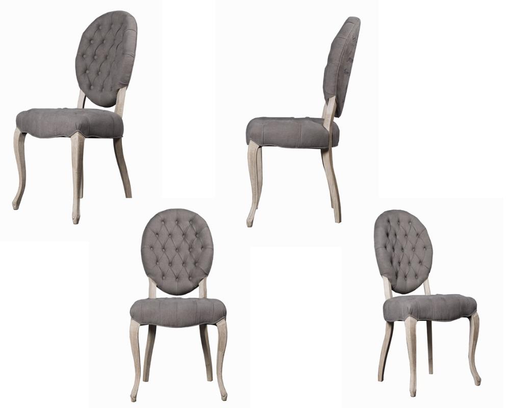 Franse stijl houten stoel met knoopjes stof eetkamer meubels