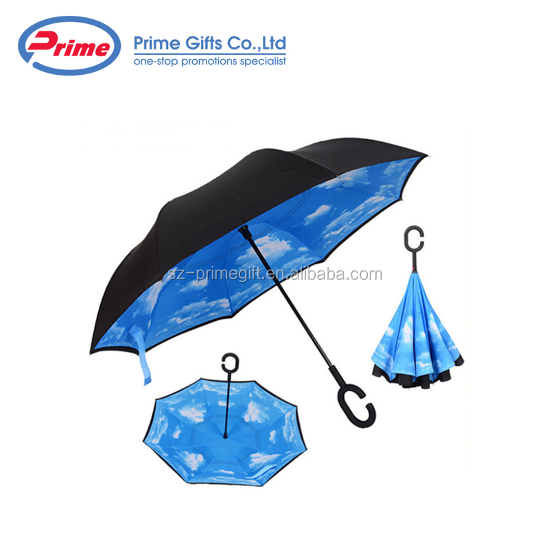Hot Sale Double Layer Inverted Umbrella with C Handle