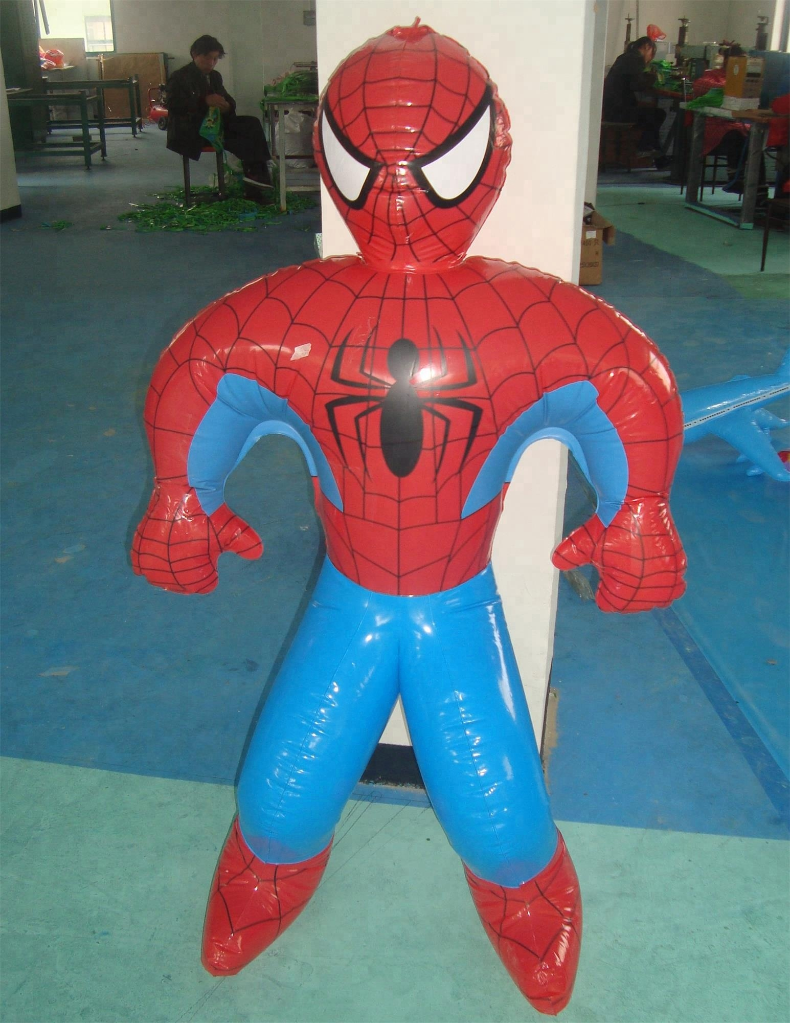 eco PVC plastic toys for kids inflatable Character modeling Spiderman with red lips