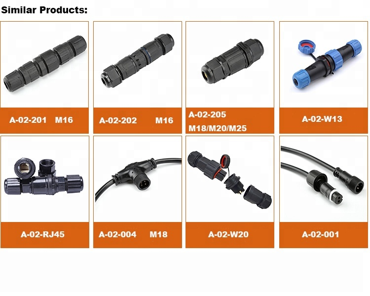 Power cable splitter 2pin 3pin 4pin Y type waterproof connector
