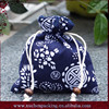 Newest Stylish Velvet Lined Dark Blue Cotton Jewelry Bags With Full Printing