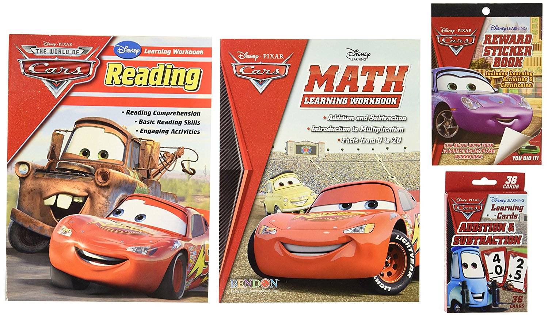 Disney Cars Learning Set Kids -- Reading Workbook, Math Workbook, Addition/Subtraction Flashcards, Reward Stickers