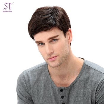 Hot Cool Male Wig Handsome Short Auburn Red Natural Hair Wig For Asian Man 1be9faae8a94