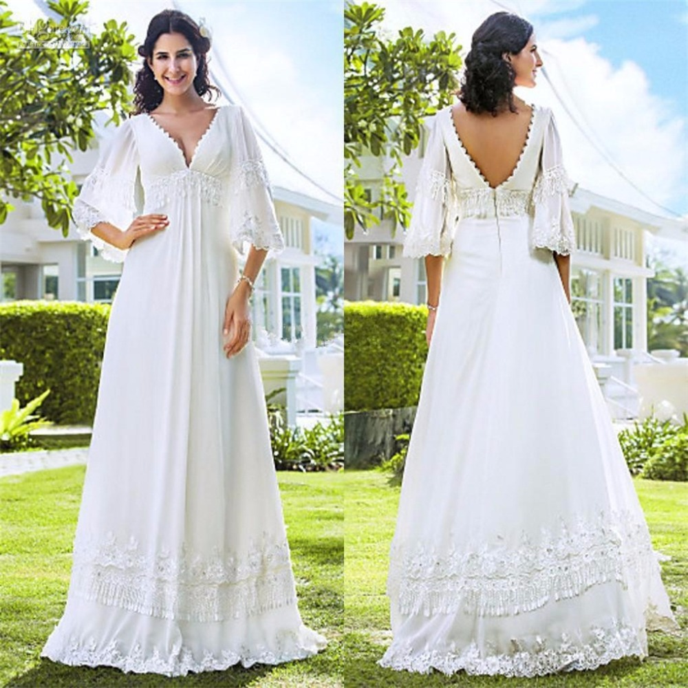 Elegant Silk Wedding Dresses With Sleeves: Elegant Applique Half Sleeve Floor Length V Neck Plus Size