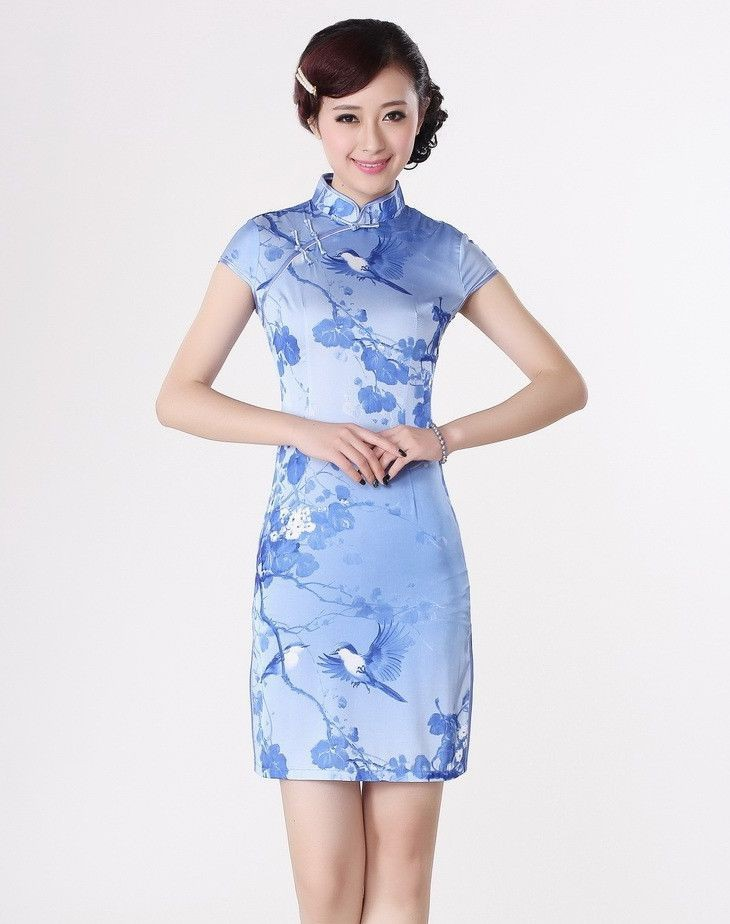 2e7ebf401 Get Quotations · Hot Sale Blue Chinese Formal Evening Dress Vintage Sexy  Cheongsam Qipao Flower Free Shipping Size S M L