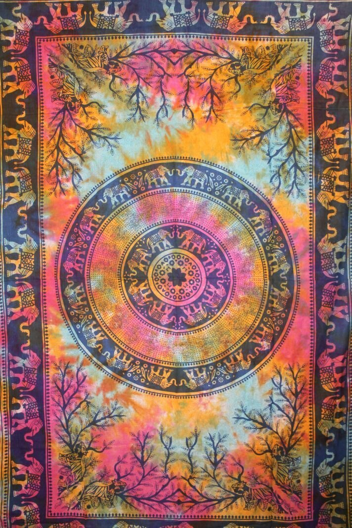 "Exclusive Handmade Elephant Mandala Tapestry By ""RaaJsee"",Boho Bohemian Tapestry Wall Hanging Tapestry,Beautiful Dorm Decor Tapestry,Hippie Bedspread Tapestry#bs38"