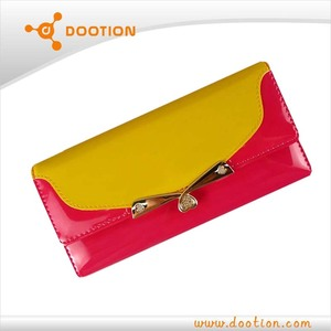 shining pu fashion wallet with metal decoration