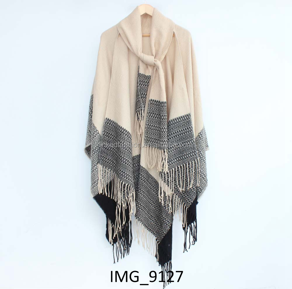 Factory supply black fake suede shawls wrap with fringe