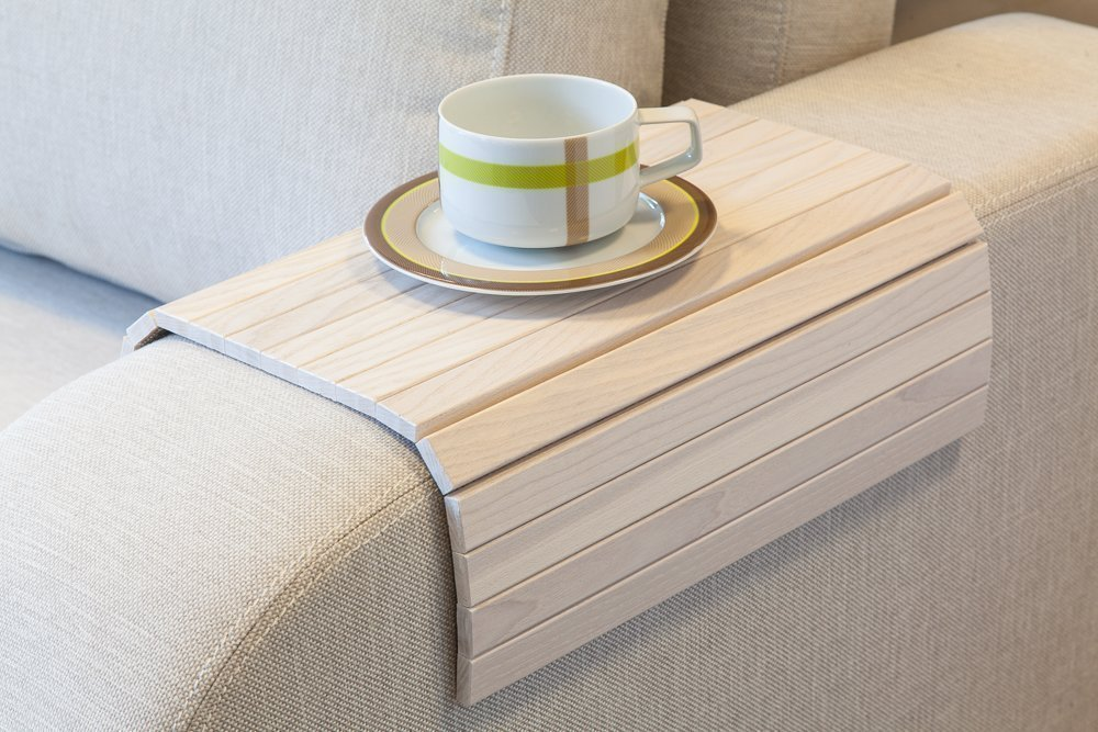 White Sofa Side Tray Table Wood Armrest Surface For