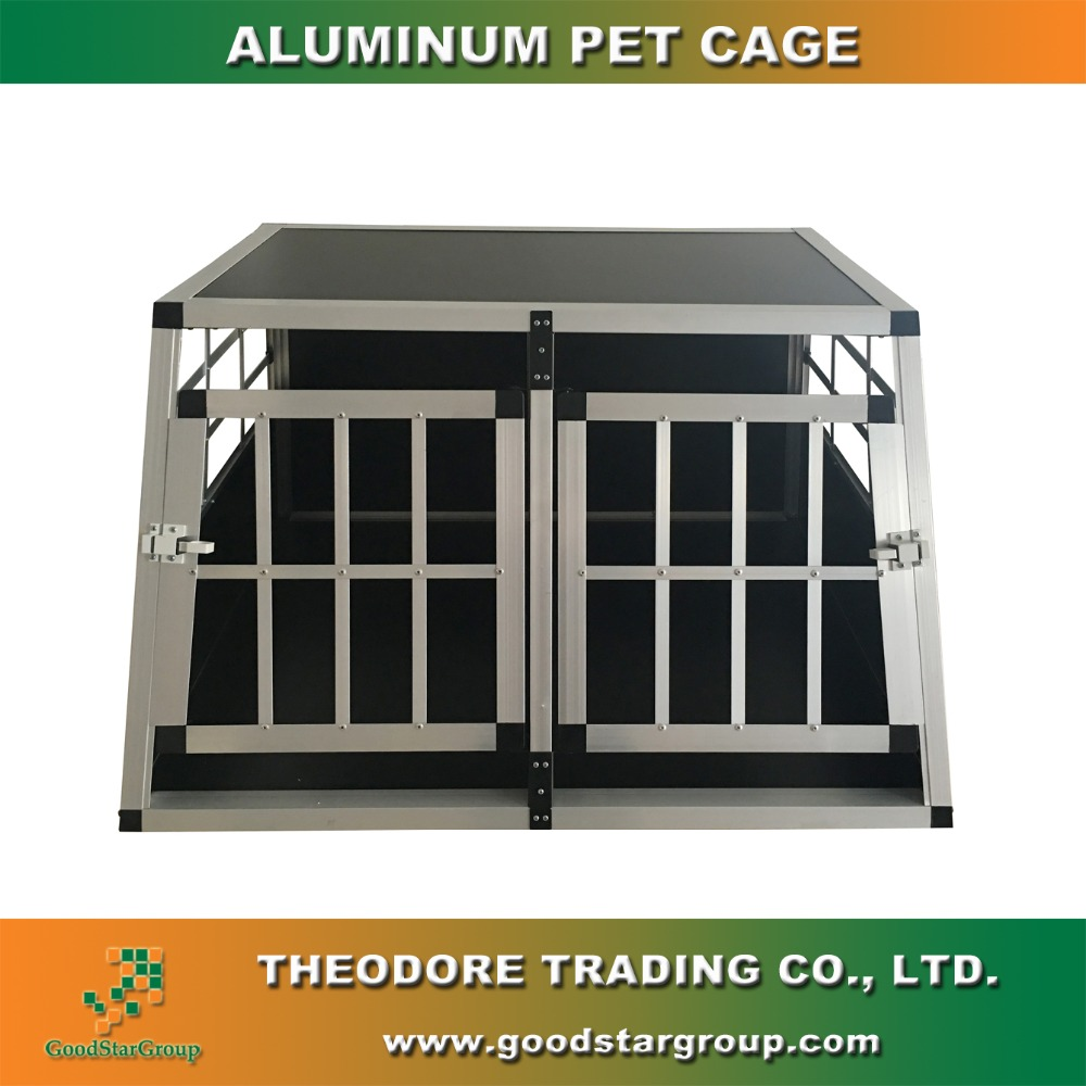 Dog House Right Trapezoid Shape Two Doors Large Size Travel Carrier Pet Kennel Crates Cages with Lock Aluminum Frame