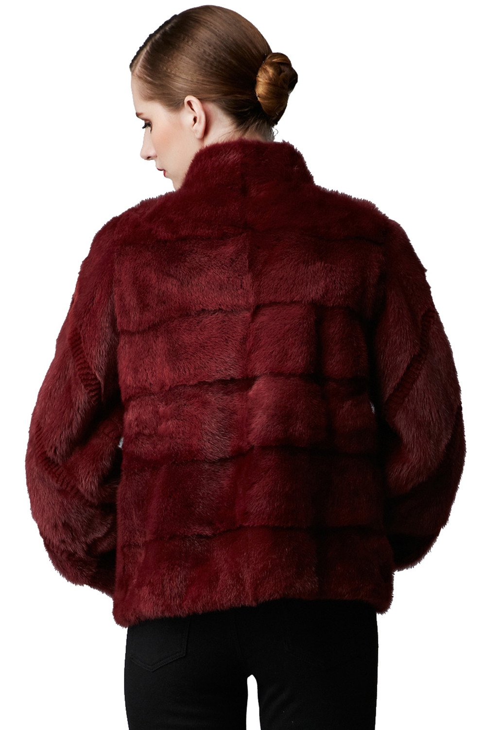 Winter Mink Fur Coat with Puff Sleeves Botton Closed for Warmth