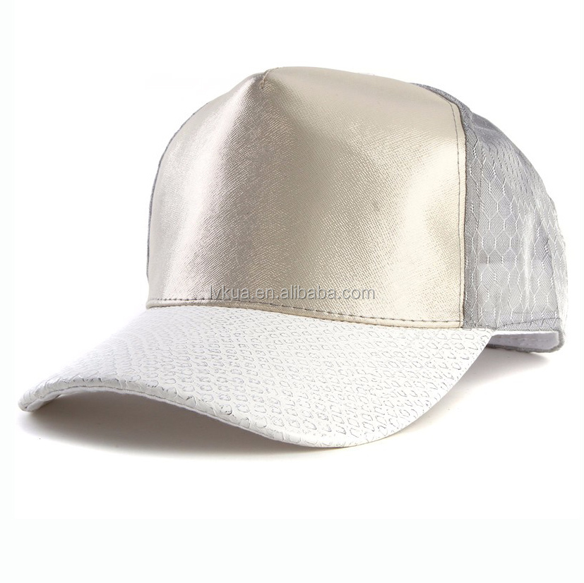 Wholesale Snapback Caps Leather Brim Baseball Cap 5 Panel with Your Own Logo