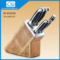 Stainless Steel Kitchen Knife Set With Bamboo Block