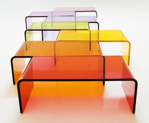 Rectangular Colored acrylic coffee table, Lucite furniture coffee table, acrylic nesting table sets