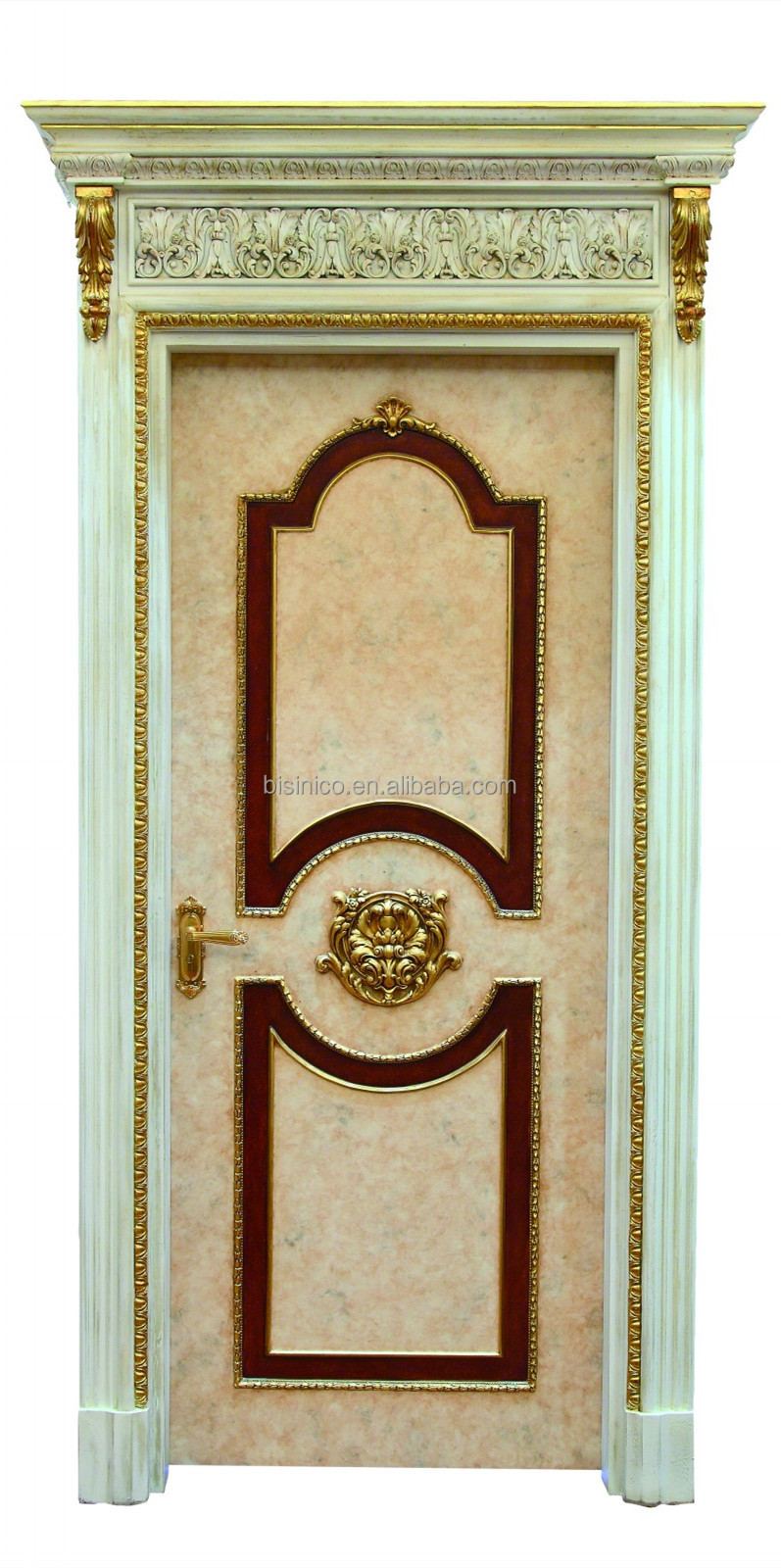 French classic style swing single interior door with golden frame french classic style swing single interior door with golden frameantique solid wood hand carved eventelaan Choice Image