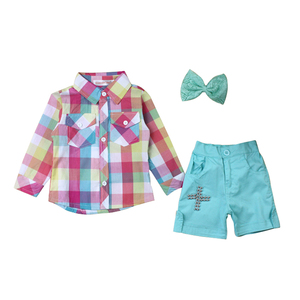 Girls plaid shirt hair accessories small shorts 3 sets of sets wholesale