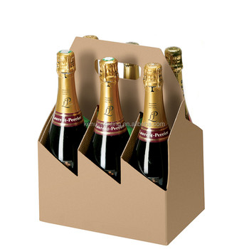 factory price custom design black carton material 6 bottle carrier wine package
