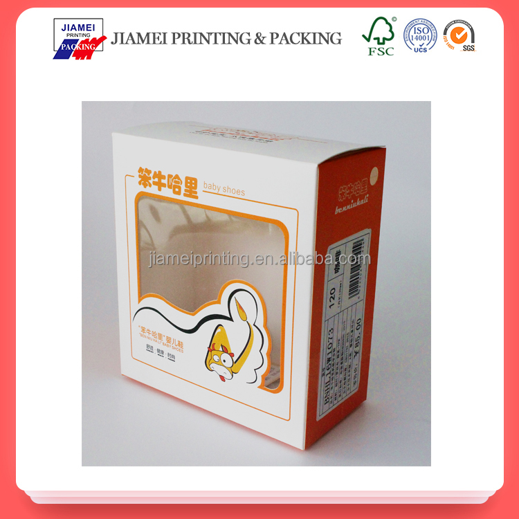 Fancy custom design baby shoes packaging box with a clear pvc window