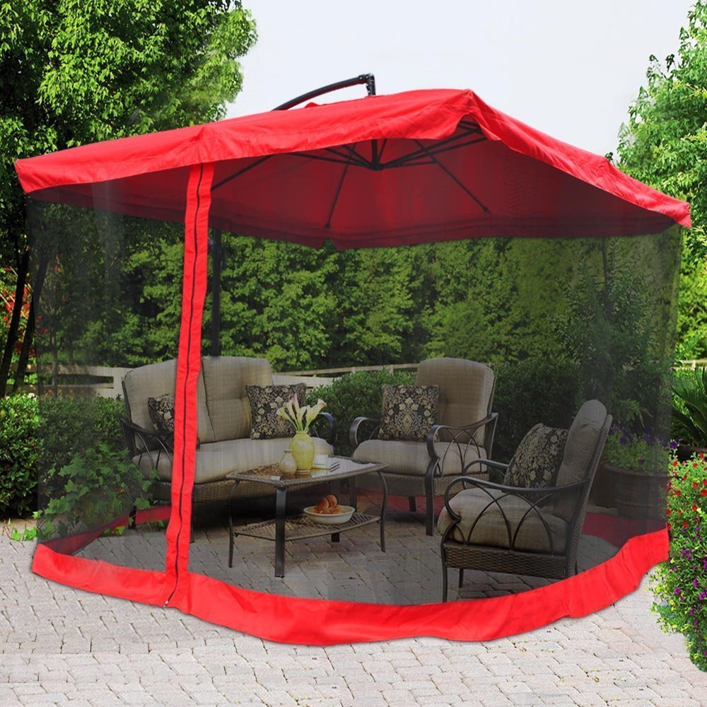 Get Quotations New Leaf Red 9ft Patio Offset Umbrella W Netting