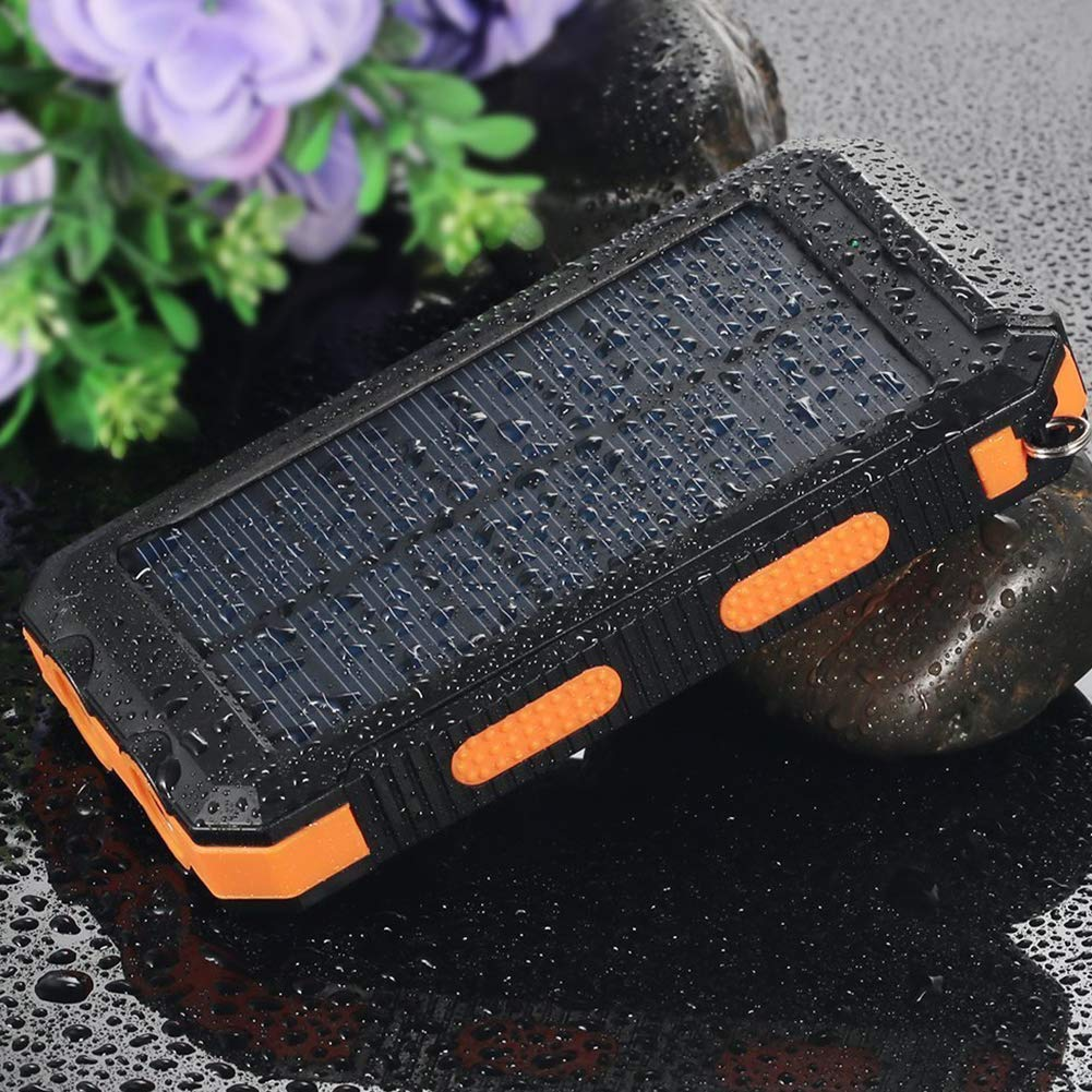 30000mAh Solar Charger,Power Bank Portable Phone Charger External Battery Charger with LED Flashlight Dual USB Ports Fast Charging for Smartphones,Camera,Tablets(Orange 5.4 x 2.9 x0.75in)