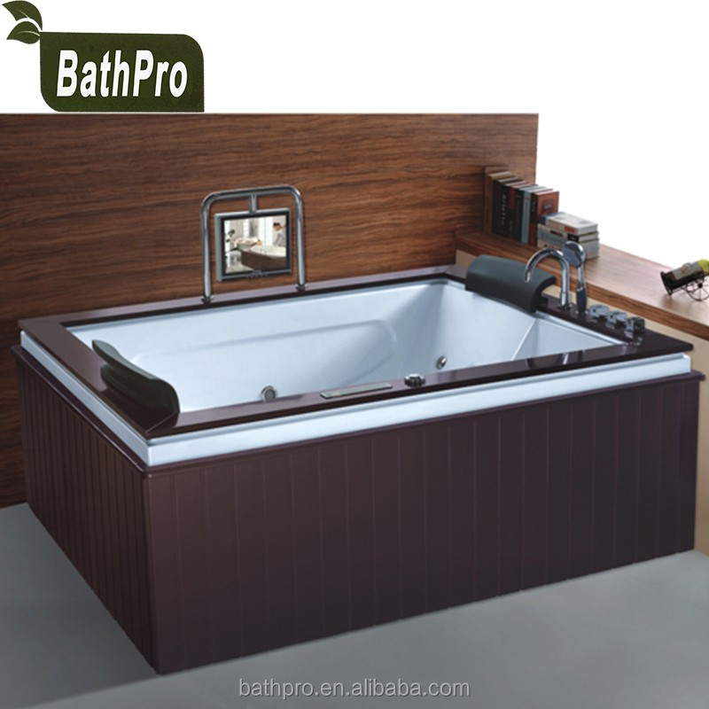 Made-in China cheap in-door whirlpool bathtub for 2 persons with jets TV