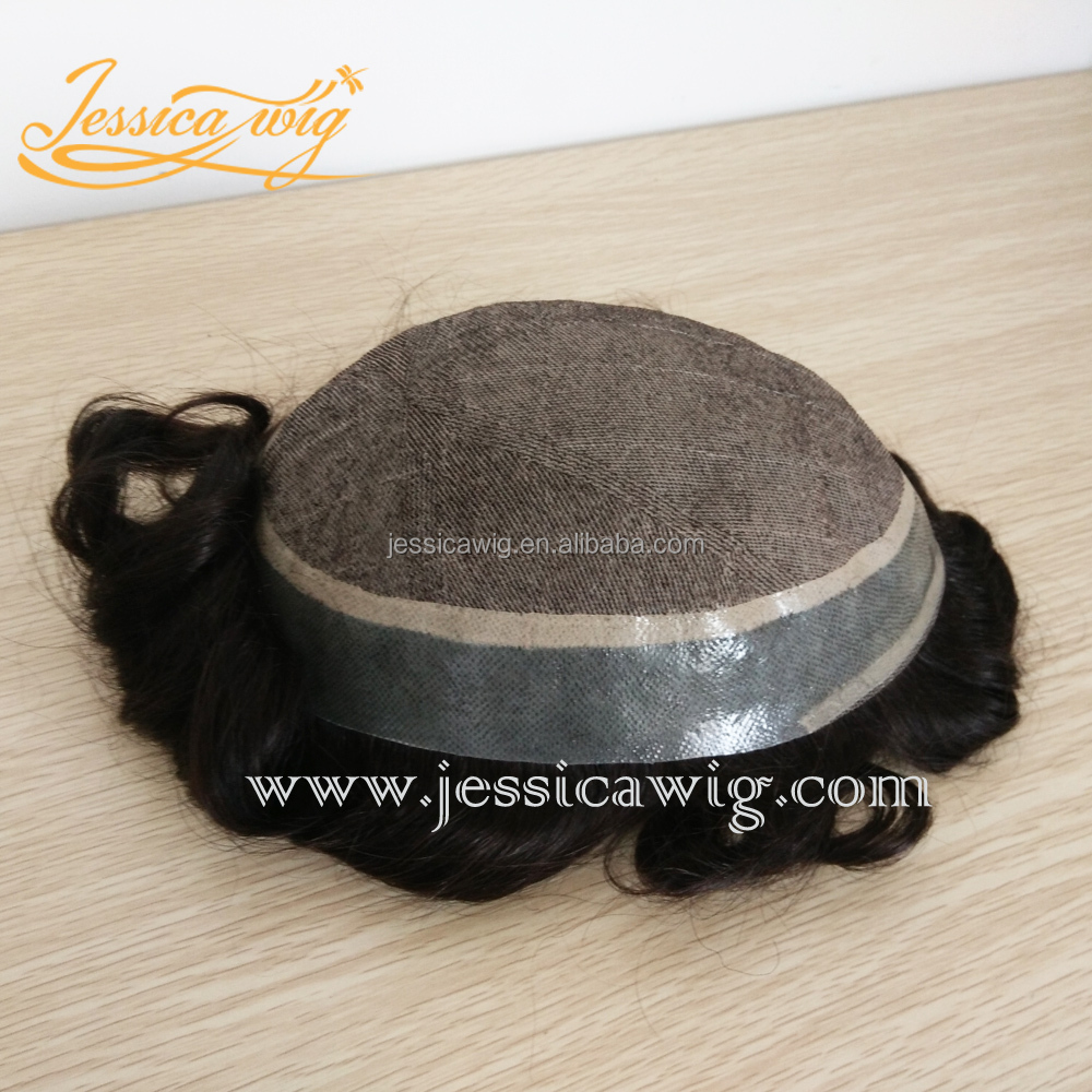 Silk base mens toupee with European hair texture