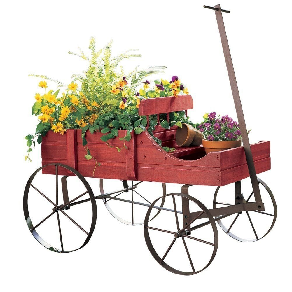 Wood Wagon Wheel Planter Bed Garden Flower Pot Cart Rustic Outdoor Decor