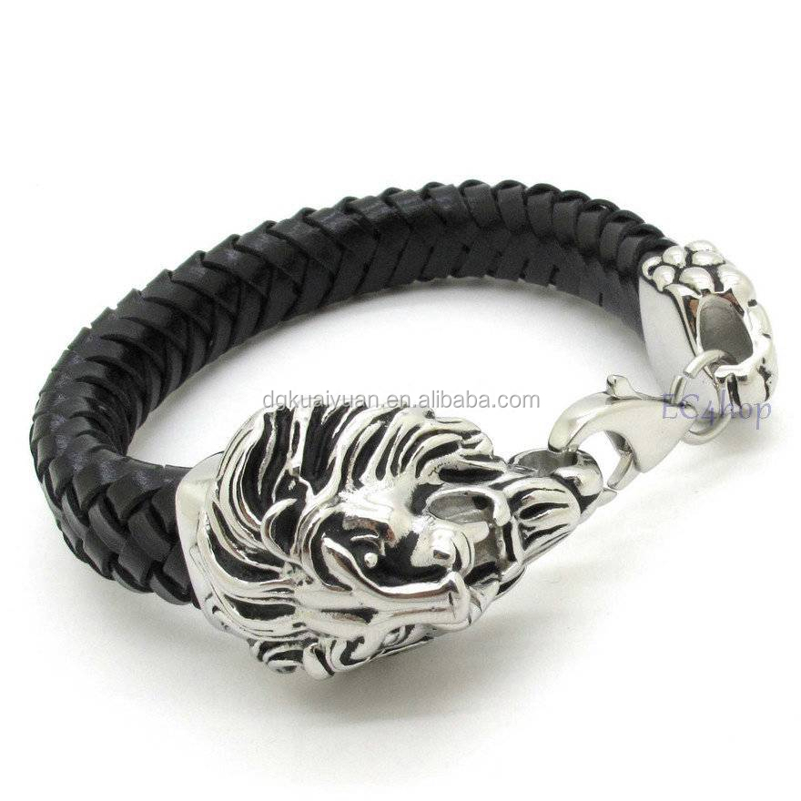 Wholesale 2015 Mens Leather Jewelry Stainless Steel Skull Lion Head
