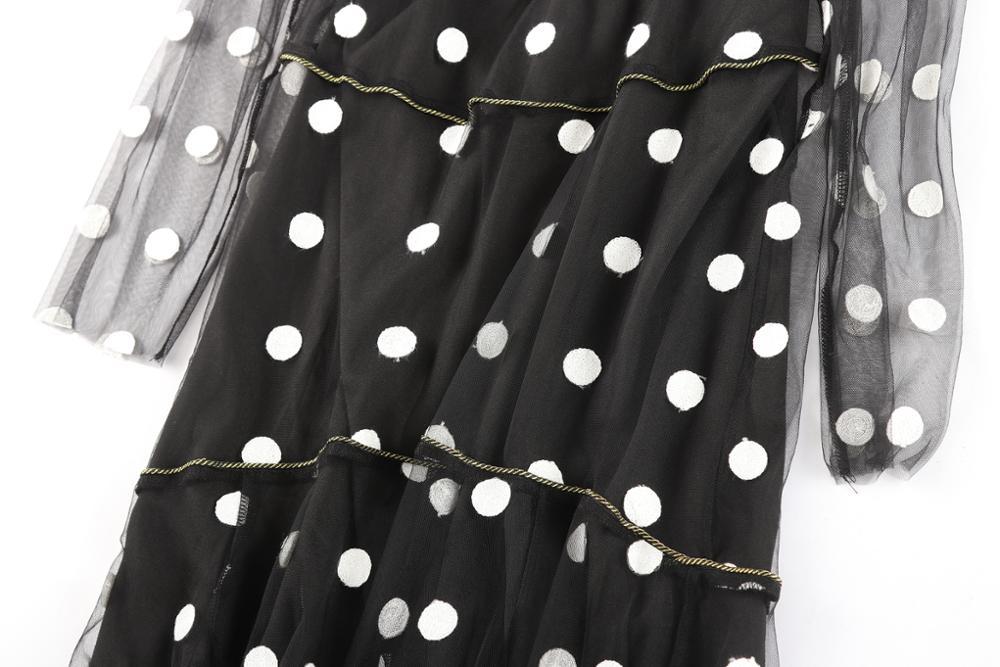 6a6d70941 Gasa de dos piezas conjunto pequeño DOTS mujeres vestido manga larga diseño  de lujo vestidos corte