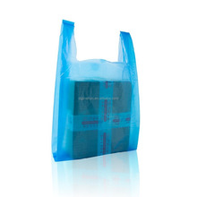 Plastic Thick Blue Handle Shopping Bags Multi-Use Large Size Merchandise Bags T Shirt Bags