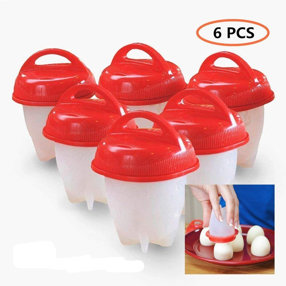 Silicone Egg Boil, Egg Cooker - Hard Boiled Eggs without the Egg Shell , BPA Free, Non Stick Silicone (6 Egg Cups, Red)