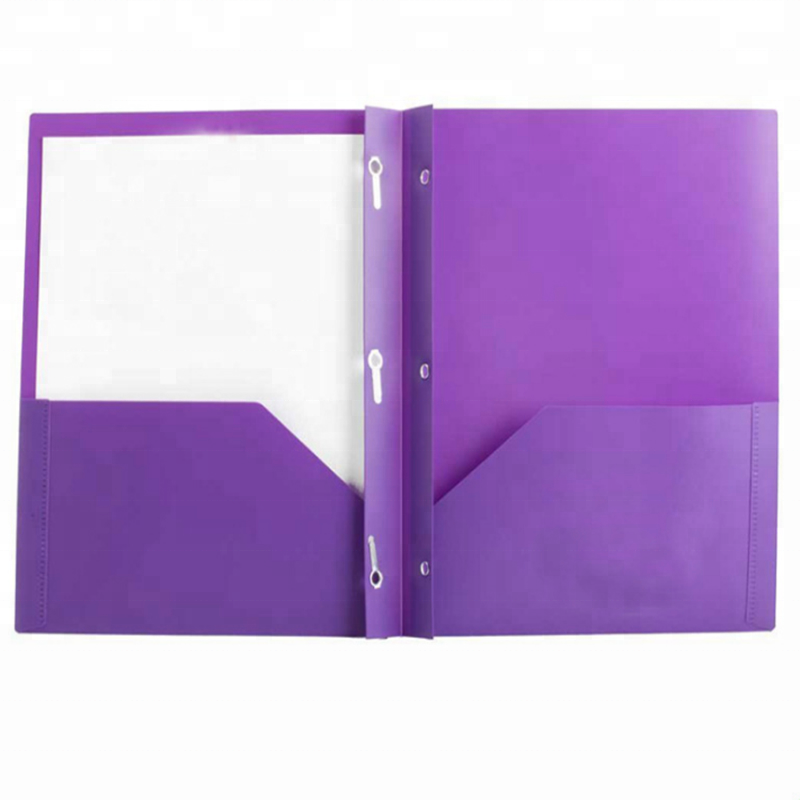 US Letter Size Portfolio Poly Folder With 3 Prongs Two Pockets