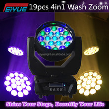 New 19pcs*12W 4in1 RGBW LED Moving Head Beam+Wash+Zoom 4in1 With 16 Channels For Theater,TV Studio,Disco Stage