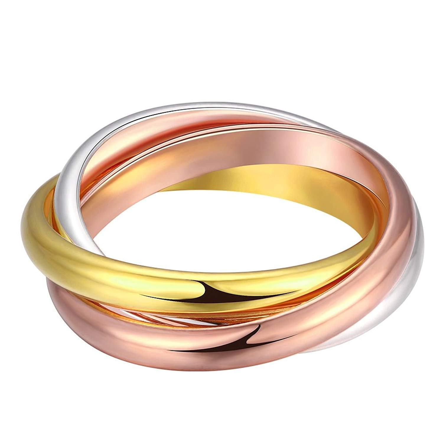 1a922f22a Get Quotations · Naivo Tri Color Triple Band rolling Ring 18K Gold Plated - 3  Bands trinity interlocking Interlocked