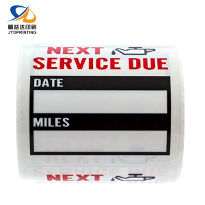 Custom Printing Waterproof Adhesive Car Service Reminder Sticker Oil Change Sticker Label