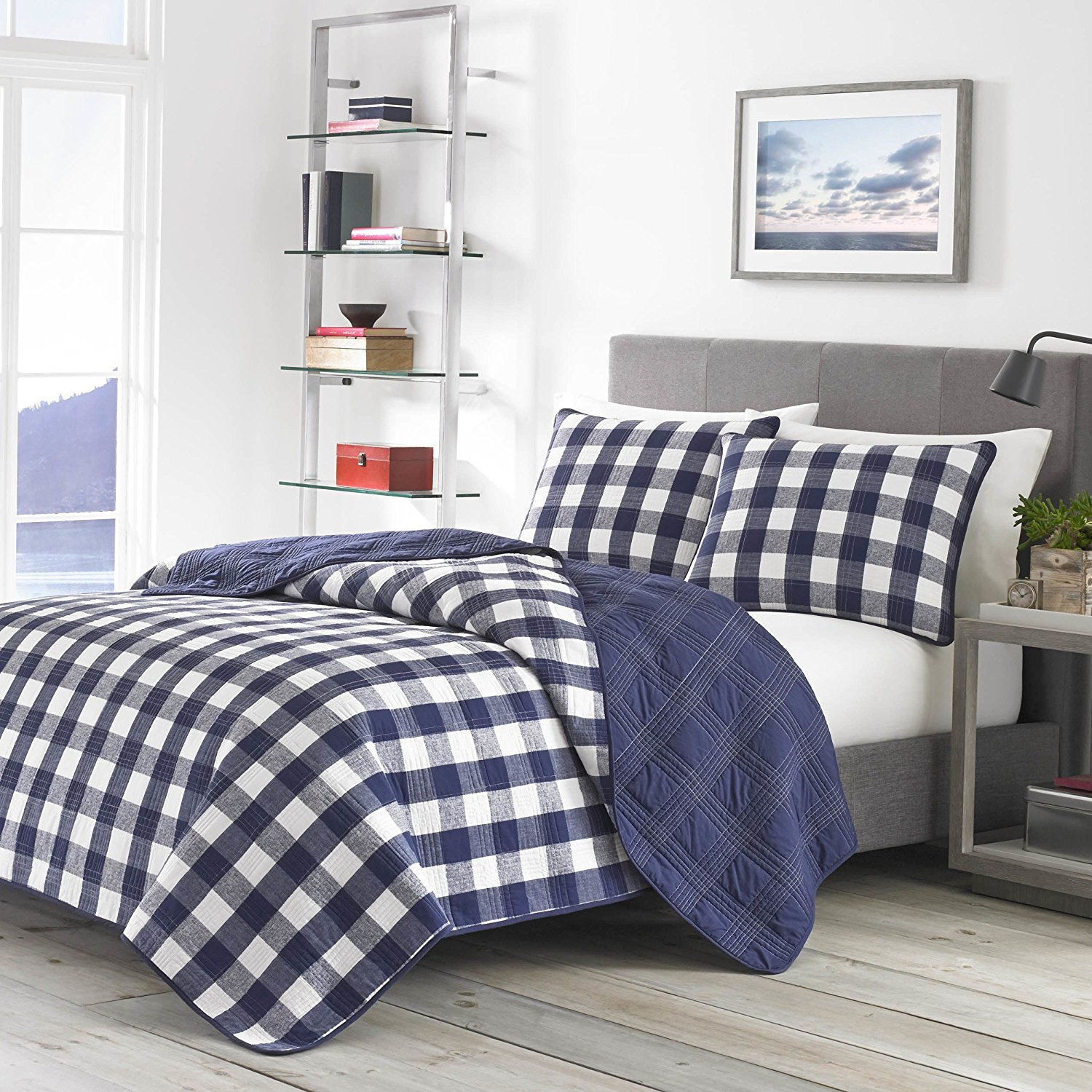 3 Piece Navy Blue White Buffalo Check Pattern Comforter Full Queen Set, Elegance Luxurious All Over Classic Plaid Texture Design Reversible Bedding, Casual Style, Solid Bold Colors, Soft & Cozy Cotton