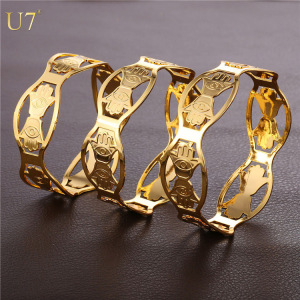 U7 Vintage Hamsa Hand Bangles Women Men Jewelry Wholesale Platinum Gold Plated 3 Size Lucky Bracelets Bangles For Women