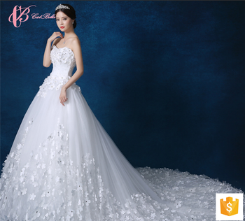Adult Cheap Luxury Applique Wedding Dresses Under 100 With Long Chapel Train
