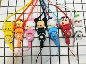 Chinese cheap phone security lanyard silicone cartoon doll mobile accessory from factory