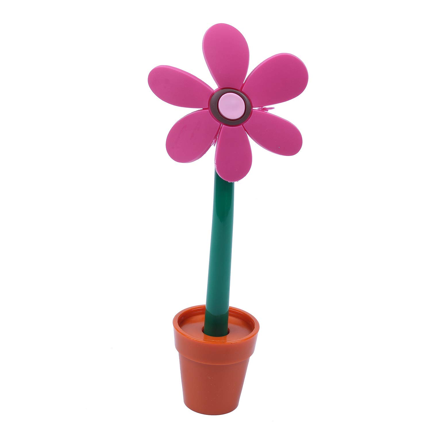 SODIAL(R) Novelty Cute Flower Pot Ballpoint Lovely Sunflower Students Stationery Pen Creative School Supplies Kids rose Red