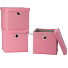 Folding Storage Box Container,Canvas Storage Cubes With Lid,Pink Color