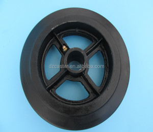 8 inch 200mm roller bearing heavy duty cast iron solid rubber caster wheels