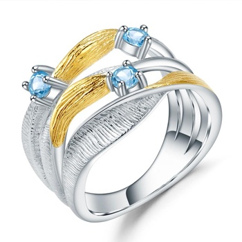 Abiding gold plated ring natural swiss blue topaz gemstone fashion jewellery sterling silver finger ring women