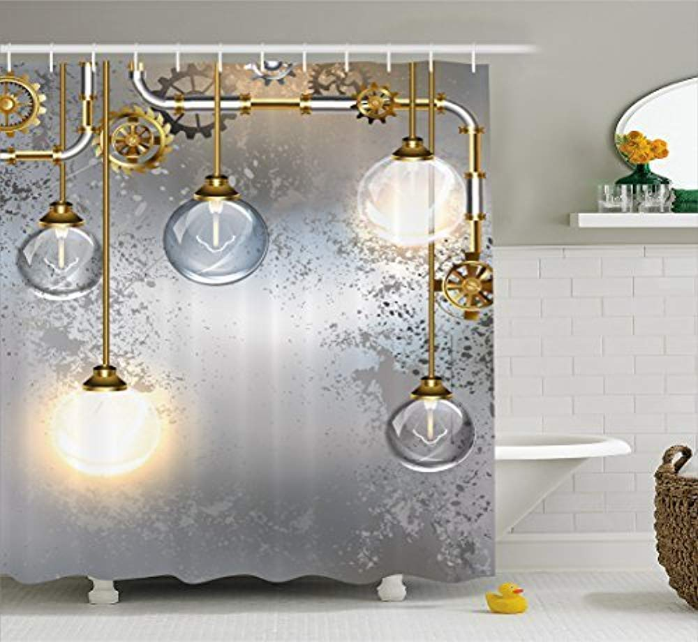 Get Quotations Lady Shower Curtain Retro Chic Odorless Steampunk Antique Composition Brass Fastening Round
