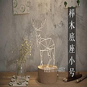 Injuicy Lighting Nordic Modern Wood Deer LED Bedroom Desk Lamp Table Light Machilus Beech Gift (Beech Small)