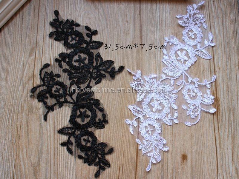 Abito da sposa crochet alencon lace applique fiore sposa collo
