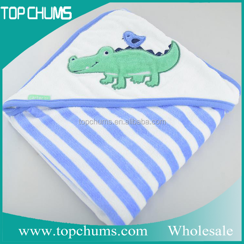 wholesale animal 100% cotton organic bamboo terry embroidery baby bath towel with hood