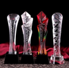 Free shipping colors pink crystal trophy for price-giving souvenirs and gifts MOQ 1pc