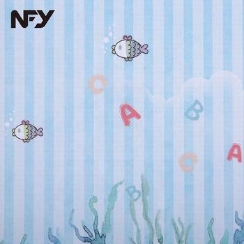 Blue Stripe Cartoon Fish Textile Wall Upholstery Fabric Mural Childrens Aquarium Wallpaper Buy Aquarium Wallpaperwall Upholstery Fabricchildrens